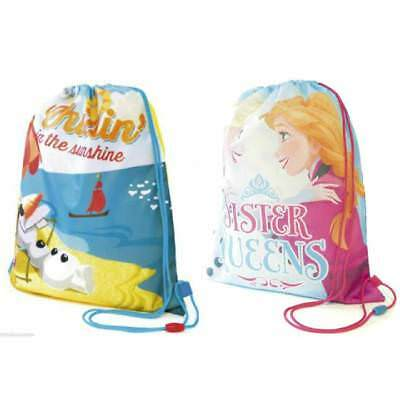 **SALE **Official Disney Frozen Elsa Anna / Olaf Swimming Bag Drawstring Gym Bag