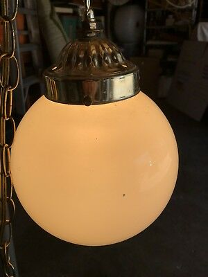 Vintage Mid Century White Globe Glass Hanging Swag Lamp Light