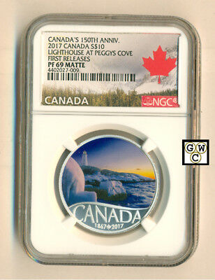 2017 $10Fine Silver Celebrate Canada 150Th:lighthouse At Peggy's Cove ,ngc-Pf69