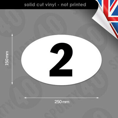 250mm Oval Race Number - Vinyl Stickers / Decals - Classic Bike Car Racing