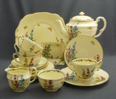 18 pc HOLLYHOCK Hand Painted Crown Staffordshire England Tea Set for 4 c1929