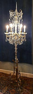 Tall French Brass and Crystal Floor Standing 6 Branch Chandelier Lamp