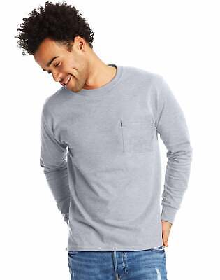 Hanes Long-Sleeve T-Shirt with a Pocket Mens TAGLESS Cotton S-3XL 11 Colors 5596