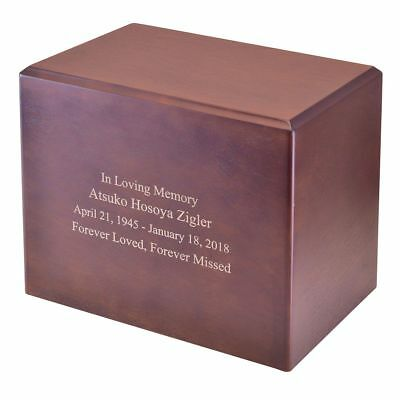 Large/Adult 280 Cubic Inches Exeter Walnut Wood Funeral Cremation Urn for Ashes