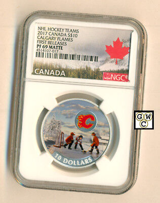 2017Calgary Flames(R)-Passion to Play  Prf $10 Fine Silver 1/2oz Coin , NGC-PF69