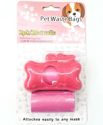 2 Pack Pet Waste Bags with dispenser. 20 Count Rolls.  Attaches easily to leash.