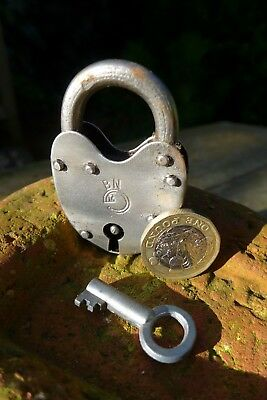 Vintage Antique Small Padlock With Logo Working Order Collector 28-19