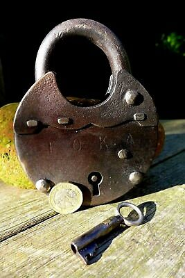 Vintage Antique Large Padlock With Logo Working Order Collector 28-22