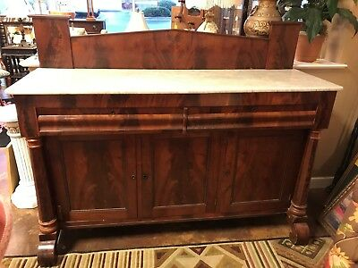 Empire Style Burled Walnut Marble Top Sideboard Buffet
