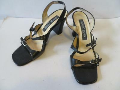 6296b3a0dcfe WOMENS SERGIO ROSSI Black Leather Sandal Heels 37(Eu) 7(Us) -  20.99 ...