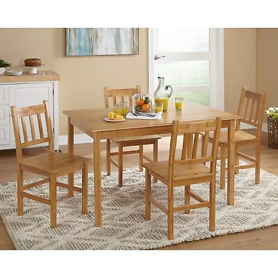 5 Piece Kitchen Bamboo Dining Table Set 4 Chairs Modern Breakfast Wood Furniture