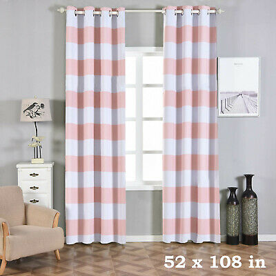 Cabana Stripe 52 X 108 Inch Window Drapes Curtains 2 Panels With Grommet Top 31 36 Picclick
