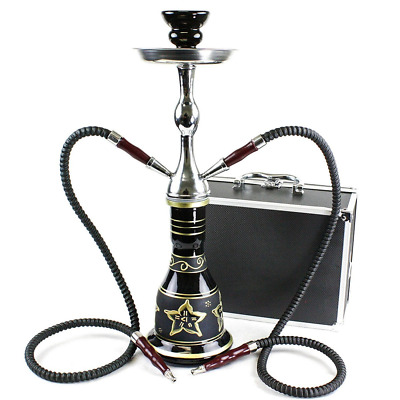 """Convertible Series 18"""" 1 Or 2 Hose Hookah Complete Set With Case Tuscany Black"""