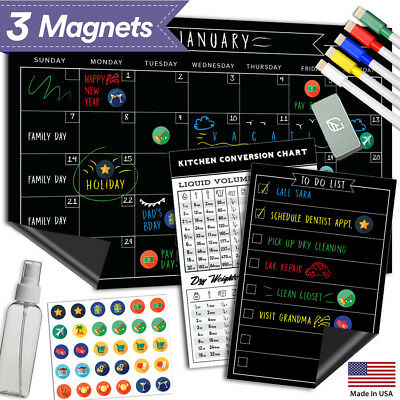 """Magnetic Dry Erase Refrigerator Calendar - 17"""" x 11"""" - Large Reusable Monthly"""