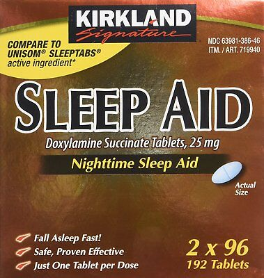 Kirkland Signature Sleep Aid Doxylamine Succinate 2 X 96 TABLETS