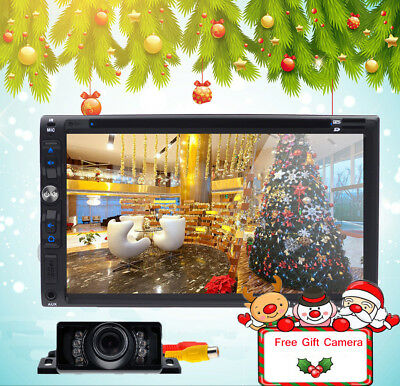 """Double 2Din 7"""" Car Stereo Radio DVD CD Player iPod Bluetooth TV MP3 +Free Camera"""
