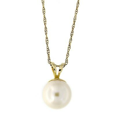 Beauniq 14k Yellow/White Gold Solitaire 9mm Freshwater Cultured Pearl Necklace
