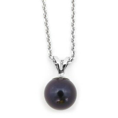 Sterling Silver Rhodium Plated 5mm Dyed Black Freshwater Cultured Pearl Necklace