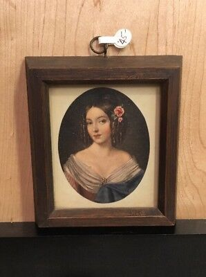 Paintings French Miniature Portrait Painting Of Young Woman By Beroux Antique 19thc
