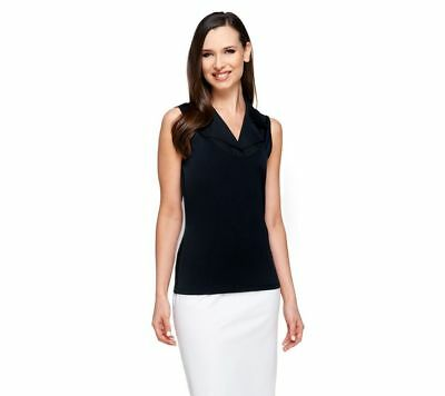 Kathleen Kirkwood Dictrac-Ease Woven Notch Collar Camisole Black 1X NEW A224161