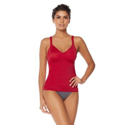 Rhonda Shear Everyday Molded Cup 2Pc Camisole V Neck RED WHITE L NEW 569-771