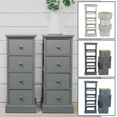 New 4 Drawer Pair Slim Tall Bedside Tables White Grey Graphite Bedroom Storage