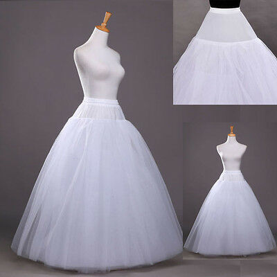 New A Line Crinoline Hoopless Petticoat Long Underskirt/Slip Prom/Wedding White