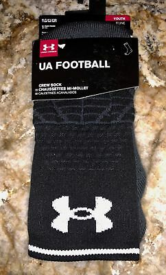 UNDER ARMOUR Highlight Crew BLACK Football Socks NEW Youth Sz L Fits Shoes 1-4