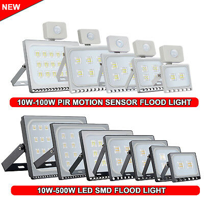PIR Motion Sensor / SMD 10W-500W LED Flood Lights Warm/Cool White Outdoor Lamp