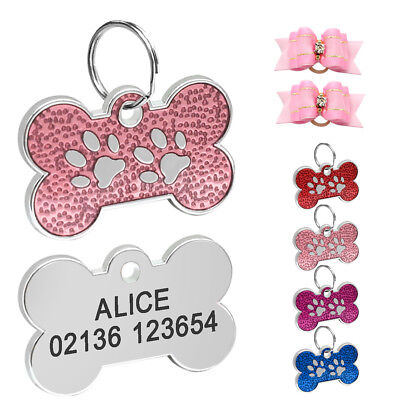 Personalised Dog Tags Cat Puppy Pet Bone ID Collar Tags Disc Name Engraved 31mm