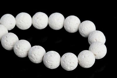 """10MM Natural White Volcanic Lava Grade AAA Round Gemstone Loose Beads 7.5"""""""