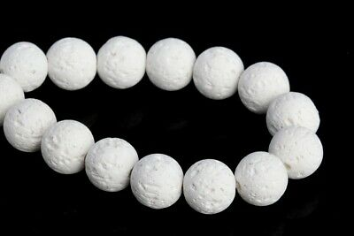 """8MM Natural White Volcanic Lava Grade AAA Round Gemstone Loose Beads 7.5"""""""