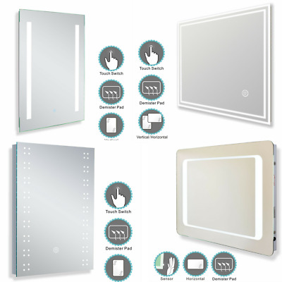 LED Bathroom Mirror Lights Touch Switch Sensor Demister Pad Mirrors by Millhouse