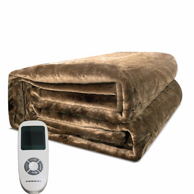 NEW Twin Size Electric Heated Flannel Blanket W/ Temperature Timing Controllers