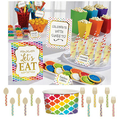 RAINBOW BUFFET Birthday Party Tableware, Banners, Balloons & Decorations (AM)