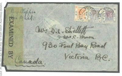 Y144 1941 HONG KONG Clipper Airmail Censored/Canada Victoria