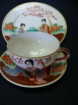 LOVELY ANTIQUE JAPANESE EXPORT TRIO Lithophane IN PERFECT CONDITION