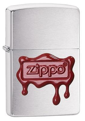 Zippo 29492, Red Wax Seal-Logo, Emblem, Brushed Chrome Lighter, Full Size