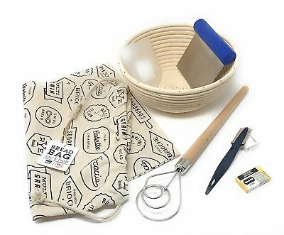 7-Piece Bread Baking Set: Round Banneton Rattan Bread Rising Basket 8 Inch, Mure