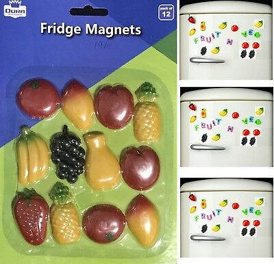 New 12pk Fruit Fridge Magnets Plastic Memo Holders Kitchen Fruit Shapes Decor