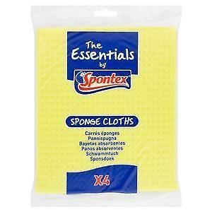 12 Pack of 4 Spontex Essential Sponge Cloth Cleaning Surface Kitchen Wiping Bath