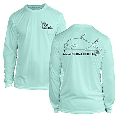 Microfiber Long Sleeve Permit Fly Fishing Shirt UPF50 - Seafoam Green
