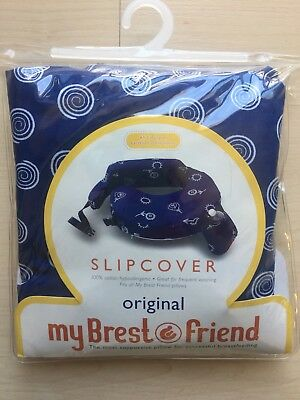 My Brest Friend Cover, Breastfeeding Pillow Cover, Blue and White Slip , New