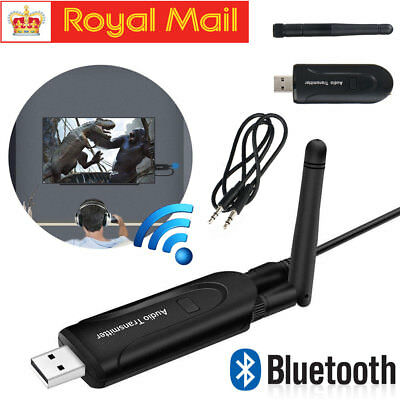 Wireless Bluetooth Audio Transmitter A2DP 3.5mm Stereo USB Adapter Dongle TV PC