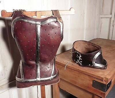 Rare Pair of French Childs Leather Surgical Corsets Steam Punk