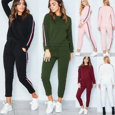 1aac46076cfd4 UK Womens 2 PCS Tracksuits Striped Sport Lounge Wear Hoodies Tops Suit Plus  Size