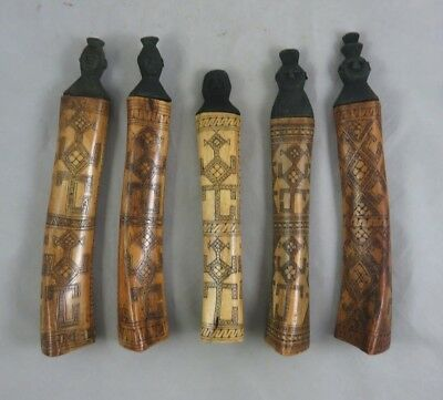 (5) Vtg African Snuff Bottles - Bone and Carved Wood - Scrimshaw - Figural