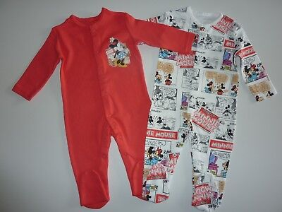 DISNEY 2 Gorgeous MINNIE MOUSE Sleepsuits Size 3-6 Months NEW in PACK