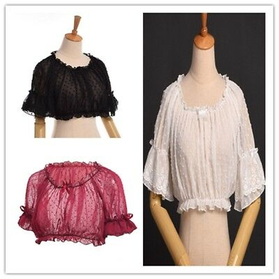 1pc Lolita  Girls Lace Crop Tops Polka Dot  Puff Sleeve Summer Shirts 3 Colors