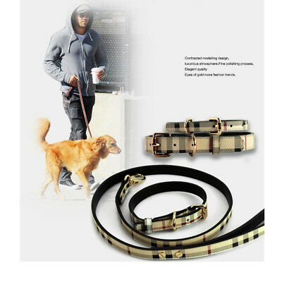 Burberry Inspired Plaid Luxury Designer Dog Lead & Collar Set (Choose Size)